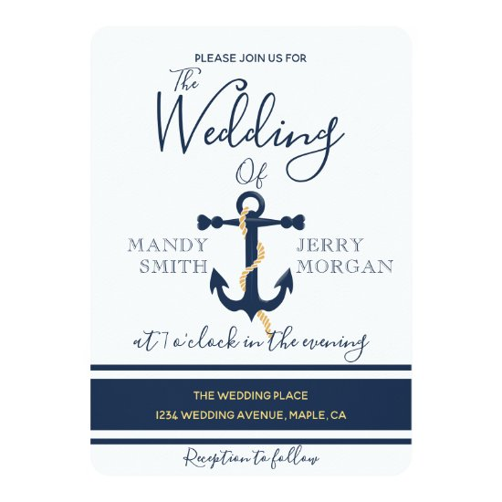 Blue anchor- nautical wedding invitation