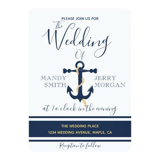 Blue anchor- nautical wedding invitation