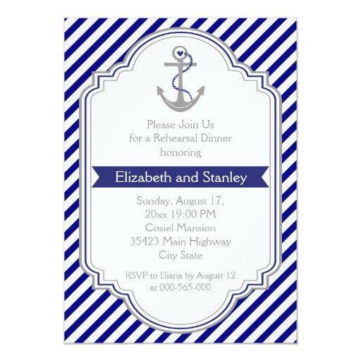 Blue anchor nautical wedding rehearsal dinner card