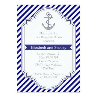Blue anchor nautical wedding rehearsal dinner 5x7 paper invitation card
