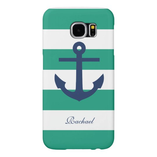 Blue Anchor on Green Stripes Samsung Galaxy S6 Case