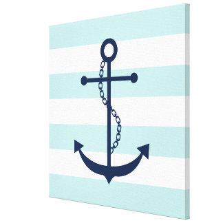 Blue Anchor on Mint Stripes Canvas Print