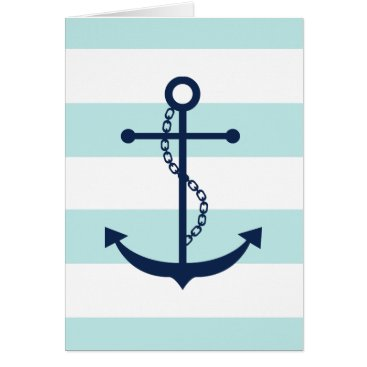 heartlocked Blue Anchor on Mint Stripes Card