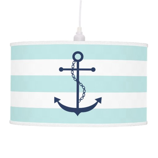 Blue Anchor on Mint Stripes Hanging Lamp