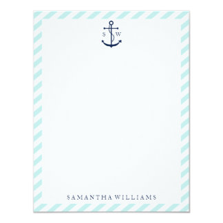 Blue Anchor on Mint Stripes Monogram 4.25x5.5 Paper Invitation Card