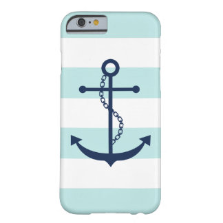 Blue Anchor on Mint Stripes Nautical Theme Barely There iPhone 6 Case