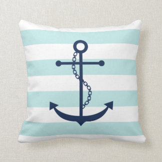Blue Anchor on Mint Stripes Pattern Pillows