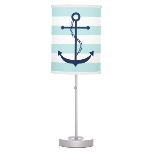 Blue Anchor on Mint Stripes Table Lamp