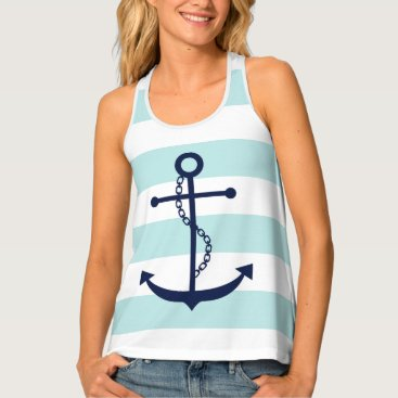 Beach Themed Blue Anchor on Mint Stripes Tank Top
