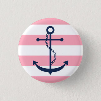 Blue Anchor on Pink Stripes Button