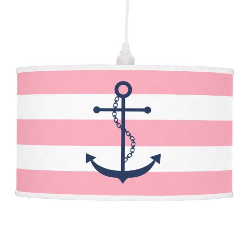 Blue Anchor on Pink Stripes Ceiling Lamp