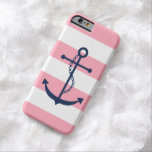 Blue Anchor on Pink Stripes Pattern Barely There iPhone 6 Case