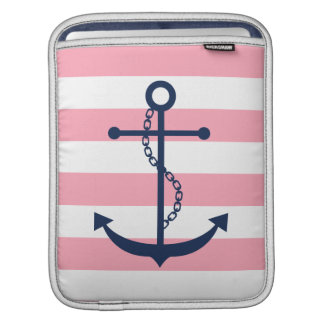 Blue Anchor on Pink Stripes Sleeve For iPads