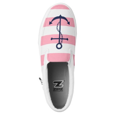 heartlocked Blue Anchor on Pink Stripes Slip-On Sneakers