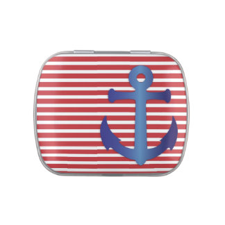 Blue anchor on red and white stripes candy tin