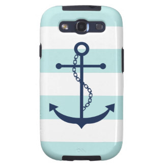 Blue Anchor on White and Mint Nautical Stripes Samsung Galaxy SIII Case