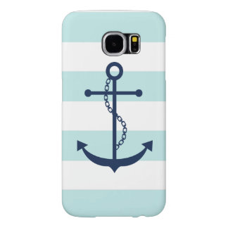 Blue Anchor on White and Mint Nautical Stripes Samsung Galaxy S6 Case