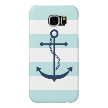 heartlocked Blue Anchor on White and Mint Nautical Stripes Samsung Galaxy S6 Case