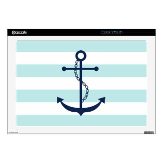 Blue Anchor on White and Mint Stripes Pattern Skin For Laptop