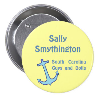Blue Anchor on Yellow Name Badge Button