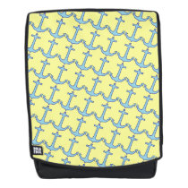 Blue Anchor on Yellow Pattern Backpack