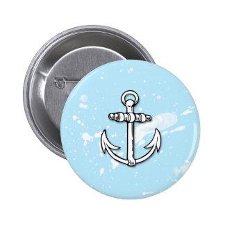 Blue Anchor Paint Splatters - Button