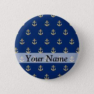 Blue anchor pattern button
