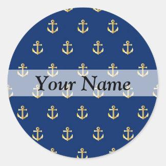 Blue anchor pattern classic round sticker