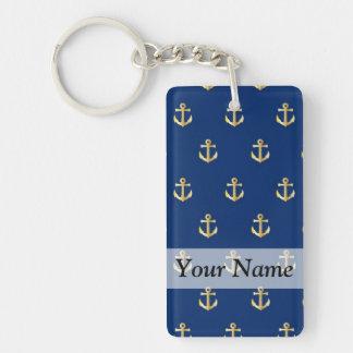 Blue anchor pattern keychain