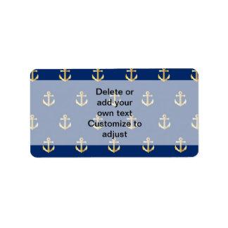 Blue anchor pattern label