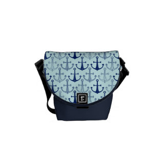 Blue Anchor Pattern Messenger Bag