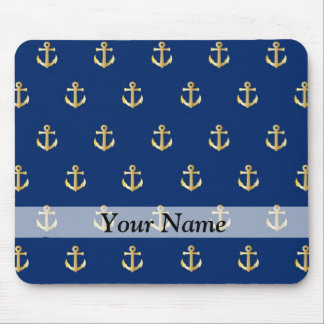 Blue anchor pattern mouse pad