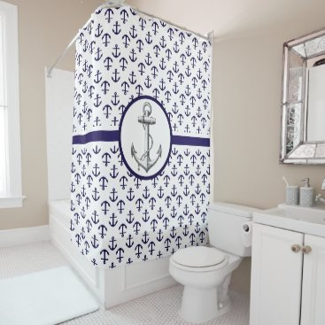 Beach Themed Blue Anchor Pattern Nautical Theme Shower Curtain
