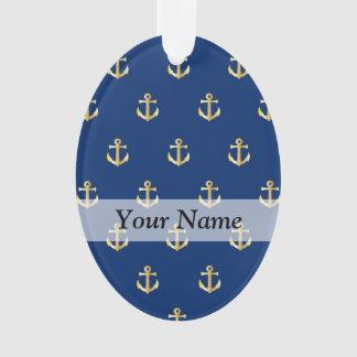Blue anchor pattern ornament