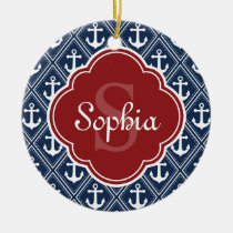 Blue Anchor Pattern Red Monogram Ceramic Ornament