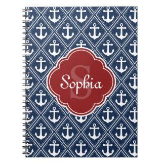 Blue Anchor Pattern Red Monogram Notebook