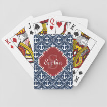 Blue Anchor Pattern Red Monogram Playing Cards