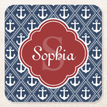 Blue Anchor Pattern Red Monogram Square Paper Coaster