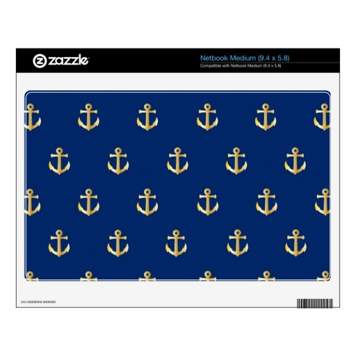 Blue anchor pattern netbook decal