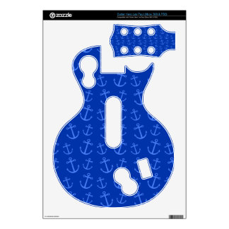 Blue anchor pattern guitar hero decal