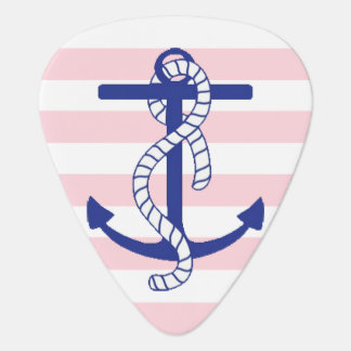 Blue Anchor Pink Stripe Personalized Guitar Pick