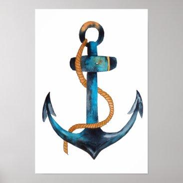 Beach Themed Blue Anchor Print