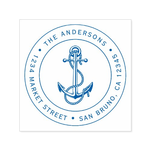 Blue Anchor  Rope  Nautical Return Address Self_inking Stamp