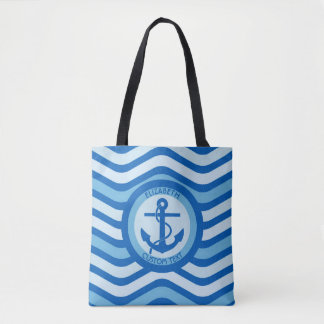 Blue Anchor Sailor with your name Tote Bag