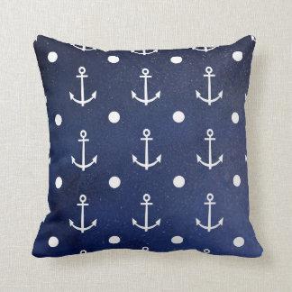 Blue Anchor Seamless Pattern, Nautical Texture Throw Pillows