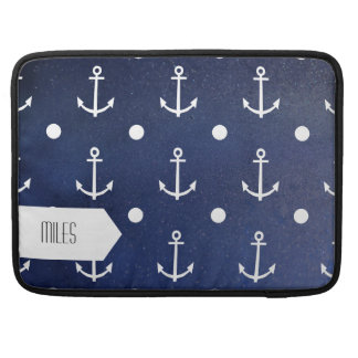 Blue Anchor Seamless Pattern, Nautical Texture Sleeves For MacBook Pro