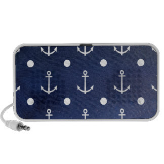 Blue Anchor Seamless Pattern Nautical Texture iPod Speakers