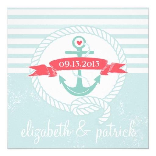 Blue Anchor Stripes Nautical Wedding Invitation