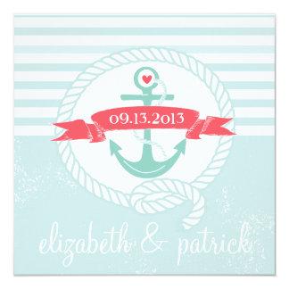 "Blue Anchor Stripes Nautical Wedding Invitation 5.25"" Square Invitation Card"