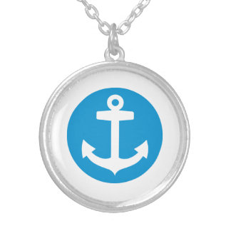 Blue anchor symbol silver plated necklace